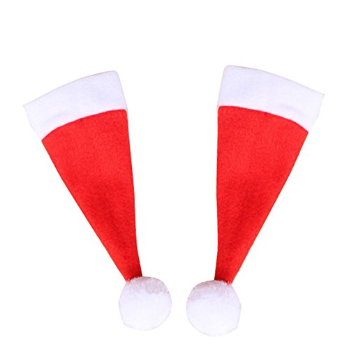 Ratoop 10pcs/lot Super Cute Christmas Cup Silverware Holder Bottles Cover Mini Santa Claus Hat Christmas Decorations Home (Red, Approx 6x15cm)