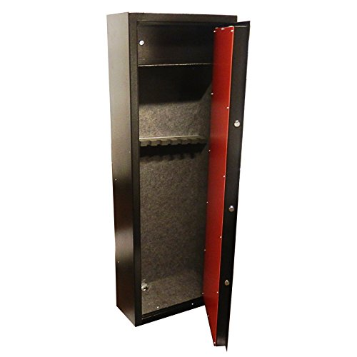 dirty pro tools™ DELUXE MODEL 8 SHOTGUN CABINET WITH BUILT IN AMMO SAFE RIFLE GUNS SAFE FELT LINED VAULT LOCKING DOOR