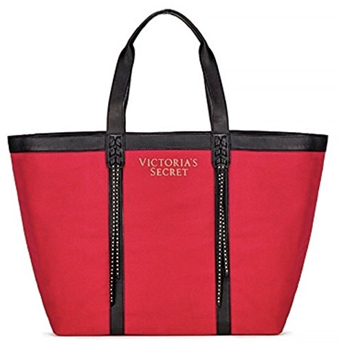 VICTORIA SECRET RED TOTE WITH LEATHER FRINGE beach bag COMPLETELY SOLD OUT ONLINE