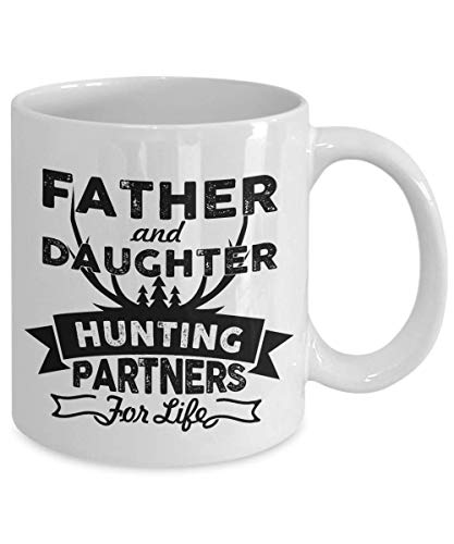 Father And Daughter Hunting Partners For Life Mug, 11 oz Ceramic White Coffee Mugs, Best Fathers Day Novelty Gifts, Papa Tea Cups From Daughter, Worlds Greatest Daddys Princess Presents