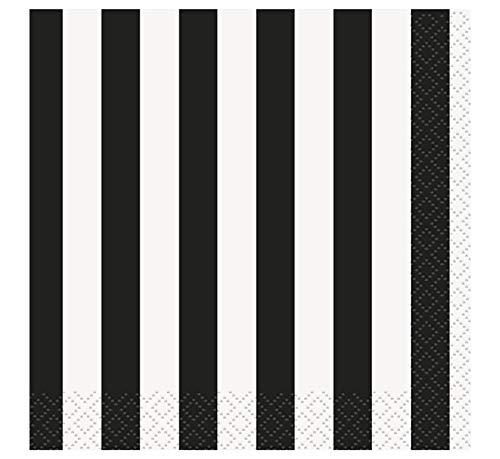 (Black Striped Beverage Napkins, 16ct )