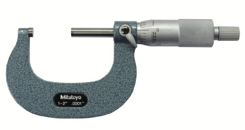 Mitutoyo 103-262 Outside Micrometer, Baked-enamel Finish, Ratchet Stop, 1-2