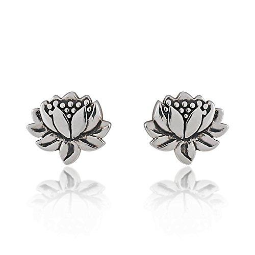 925 Sterling Silver Oxidized Detailed Lotus Flower Stud Earrings
