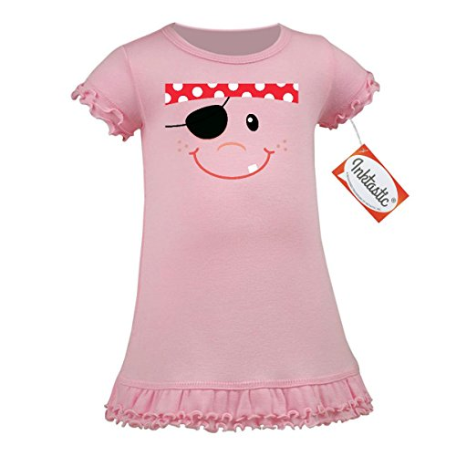 [Inktastic Baby Girls' Funny Pirate Face Costume Idea A-Line Baby Dress 12 Months Baby Pink] (Cute Pirate Costumes Ideas For Women)