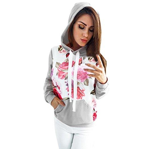 Women Hooded Sweatshirt Blouse Tops Floral Printed Long Sleeve Pocket hoodie by Qisc (M, Gray)