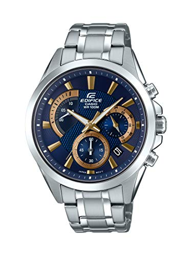 Mens Blue Dial Diving Watch - Casio Men's Edifice Silver Quartz Watch with Stainless-Steel Strap, 21.6 (Model: EFV-580D-2AVUDF)