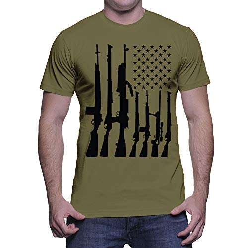 HAASE UNLIMITED Men's Big American Flag with Machine Guns T-Shirt (Olive, Small) (Shirt Flag Star)