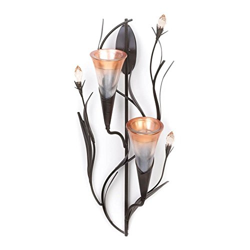 Flower Holder Wall Sconce, Modern Rustic Wall Sconce Candle Holder