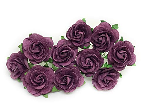 "1"" Purple Plum Paper Flowers Paper Rose Artificial Flowers Fake Flowers Artificial Roses Paper Craft Flowers Paper Rose Flower Mulberry Paper Flowers, 20 Pieces"