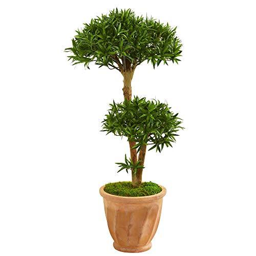 Podocarpus Bonsai - Nearly Natural 9241 41-in. Bonsai Styled Podocarpus Artificial Terra Cotta Planter Silk Trees Green