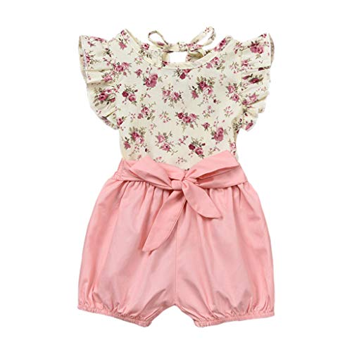 NUWFOR 2PCS Set Toddler Baby Girls Sleeveless Floral Print Tops+Solid Bow Shorts Pants Clothes Outfits(Pink,12-18 Months)]()