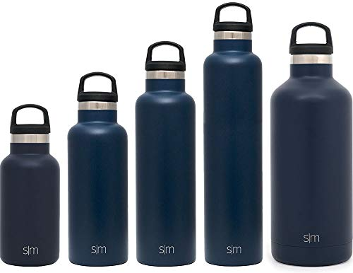 Simple Modern 32oz Ascent Water Bottle - Stainless Steel Hydro Swell Flask w/Handle Lid - Metal Double Wall Vacuum Insulated Navy Reusable Tumbler Aluminum 1 Liter Cold Leak Proof - Deep Ocean - Aluminum Wide Mouth Bottle