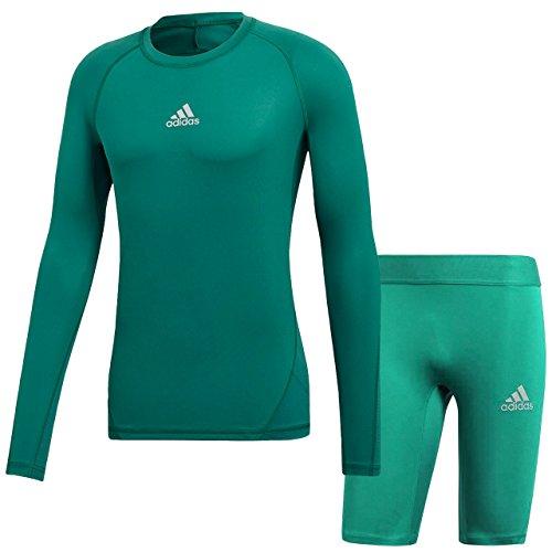 無知厄介な休憩アディダス(adidas) ALPHASKIN TEAM ロングスリーブシャツ & ショートタイツ(Tフォレスト/Bグリーン) EVN55-CW9507-EVN54-CW9476