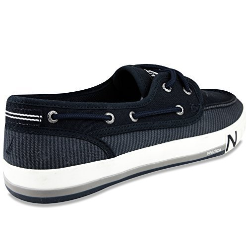 Flat Blue Navy Shoe Stripe (Nautica Men's Spinnaker Lace-Up Boat Shoe, Casual Loafer, Fashion Sneaker-True Navy Stripe-10.5)