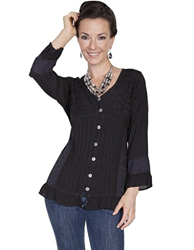 Scully Lace Blouse - Scully Women's Corset Lace Blouse Black X-Large