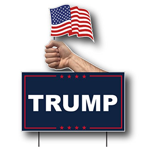 VictoryStore Yard Sign Outdoor Lawn Decorations: Trump Yard Sign USA Flag, 21 inch x 18.6 inch, Set of 2 with Stakes by VictoryStore