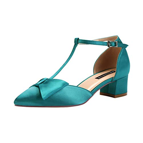 - ERIJUNOR E0079 Bow Shoes Comfortable Low Heels for Women Pointy Toe T-Strap Wide Width Evening Wedding Satin Shoes Teal Size 9