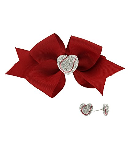 Red Baseball Lovers Heart Shaped Rhinestone Baseball Ribbon Clip & Stud Earring Set