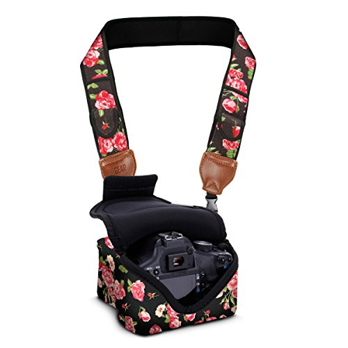 DSLR Camera Case/Camera Strap Combo - Floral Neoprene Design with Accessory Pocket Plus Camera Strap with Storage Pockets by USA Gear 2-in-1 Package - Works with Nikon