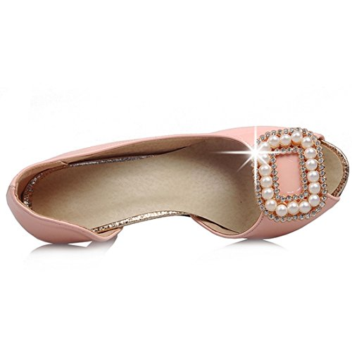 YE Women's Peep Toe Pearls Kitten Heel D'Orsay Slip On Dress Court Shoes Pink pAjyTGq8