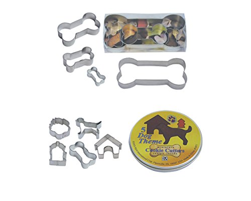 R & M International Best Selling Set of 4 Classic Dog Bone Cookie Cutters and Set of 5