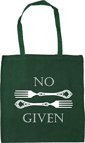 HippoWarehouse No Forks Given Tote Shopping Gym Beach Bag 42cm x38cm, 10 litres Bottle Green