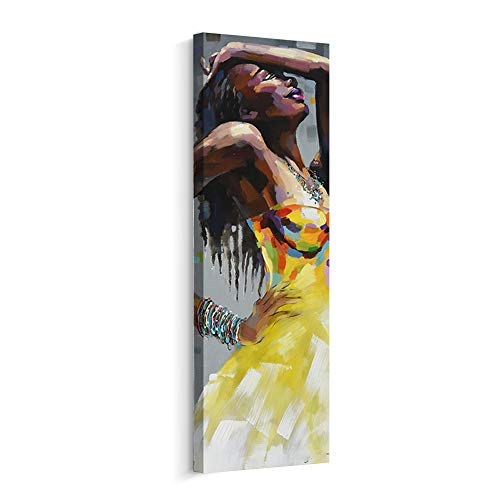 Artinme Framed African American Black Art Dancing Black Women in Dress Wall Art Painting on Canvas Print Wall Picture for Home Accent Living Room Wall Decor (12 x 36 inch, F)