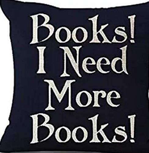 """Queen's designer Book Lover Reading Book Club Books I Need More Books Black Background Cotton Linen Decorative Throw Pillow Case Cushion Cover Square 18""""X18"""
