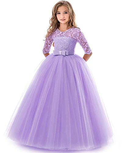 Party Wear Dresses - NNJXD Girls Pageant Embroidery Ball Gown Princess Wedding Dress Size (170) 13-14 Years Purple