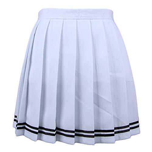 Singhi Femme Mini Jupe Patineuse Ecossais vas Pliss Court Jupe rayure Nouveau Blanc,XL