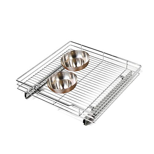 (Smart Design 1-Tier Shelf Expandable Roll Out Cabinet Organizer w/ Mounting Hardware - Extra Large - Steel Wire - Holds 100 lbs. - for Cabinets & Cookware Items - Kitchen (21-40 x 20 Inch) [Chrome])