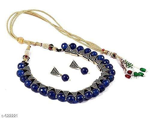DevDeep Beautiful Blue Charm Nepali Stone/Bead Alloy Metal Chokar Neckless with Earing Set.Navratri Special.Rakshabandhan Special.Diwali Special.Party jwellery.Wedding Jwellery.Indian Style