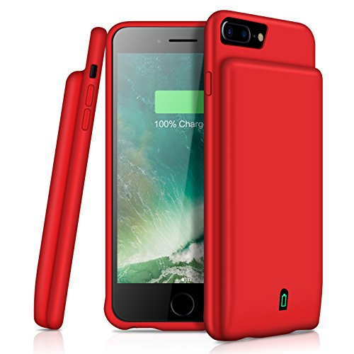 iPhone 8 Plus 7 Plus 6 s Plus Battery Case YISHDA 7000mAh Portable Charging Case for iPhone 8 Plus/7 Plus/6s Plus/6 Plus (5.5 inch) Extended Battery Case Support Headphones-Red