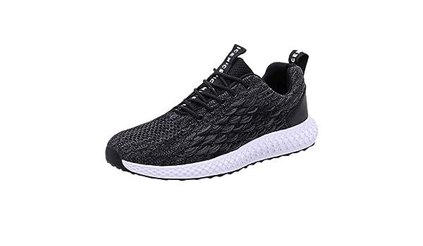 MISSQQ ーSneaker de Hombre – Zapatos Casuales de Paseo Moda Sneaker Antideslizante Mocasín de Gimnasia Deportiva de Carrera al Aire Libre Negro 42: Amazon.es: Ropa y accesorios