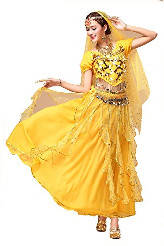 YYCRAFT Women's Halloween Costume Tops Skirt Set with Accessories Belly Dance Performance Outfit-Style B,Yellow]()