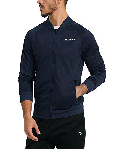 Baleaf Men's Performance Fleece Lined Warm-up Track Jacket Navy Size (Mens Warm Up Jacket)