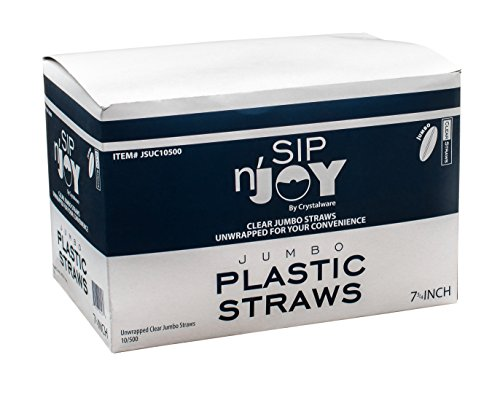 Crystalware, Clear Plastic Straws, 7 3/4 Inches, Jumbo Pack 500 Straws