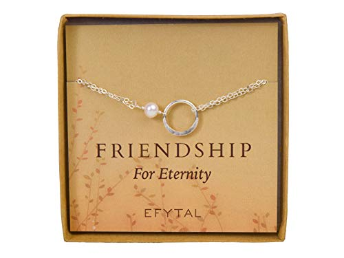 - EFYTAL Friendship Bracelet, Sterling Silver Eternity Karma Circle with Cultured Pearl