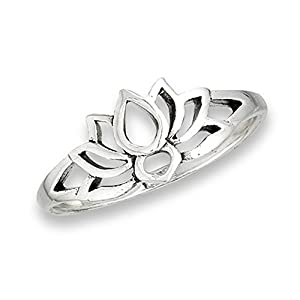 Oxidized Lotus Flower Filigree Vintage Ring .925 Sterling Silver Band Sizes 3-9