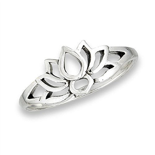 Oxidized Lotus Flower Filigree Vintage Ring .925 Sterling Silver Band Size 9