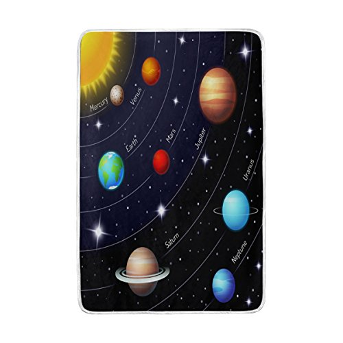 ALAZA Home Decor Solar System Planet Space Blanket Soft Warm Blankets for Bed Couch Sofa Lightweight Travelling Camping 90 x 60 Inch Twin Size for Kids Boys Girls by ALAZA