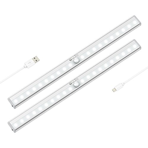 OxyLED Motion Sensor Closet Lights, Under-Cabinet Lightening, USB Rechargeable, Stick-on Cordless 20 LED Night Light Wardrobe Stairs Step Light Bar, Safe Lights W/ Magnetic Strip, 2 Pack, T-02S (Bar And Hutch)