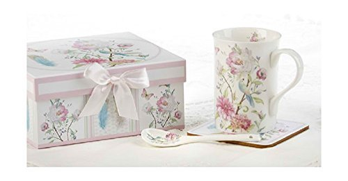 Delton Products Feather & Floral Porcelain Mug-Coaster-Spoon Set in Gift Box Novelty,Pink,12 Ounces