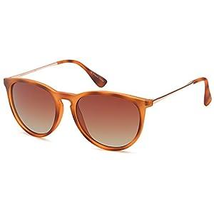GAMMA RAY Polarized UV400 Vintage Retro Round Thin Style Sunglasses - Gradient Brown Lens on Matte Havana Frame