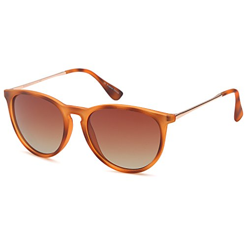 GAMMA RAY Polarized UV400 Vintage Retro Round Thin Style Sunglasses - Gradient Brown Lens on Matte Havana Frame