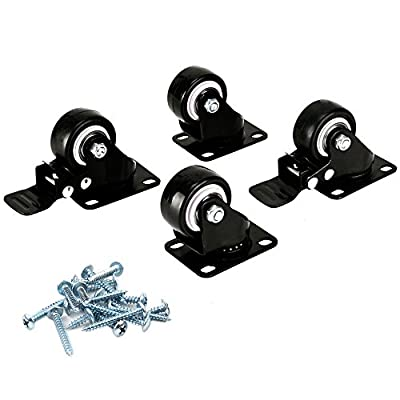 Huaha 1.5 inch Swivel Caster Wheels Rubber Base & Bearing Heavy Duty with Brake Set of 4(2 with Brake and 2 Regular)