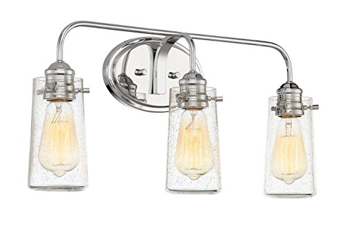 Revel Rayne 22.5'' Modern 3-Light Vanity/Bathroom Light, Seeded Glass + Chrome Finish by Kira Home