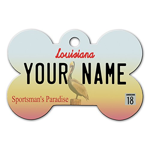 BleuReign(TM Personalized Custom Name 2016 Louisiana State License Plate Bone Shaped Metal Pet ID Tag with Contact Information