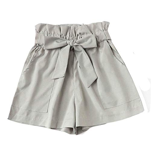 Thenxin Paper Bag Shorts for Women High Waist Casual Hot Pants Bowknot Short Trouser with Pockets(Gray,XL) -