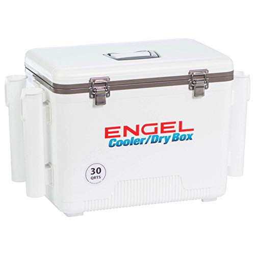 ENGEL Cooler Dry Box with 4 Rod Holders – 30 Qt – White